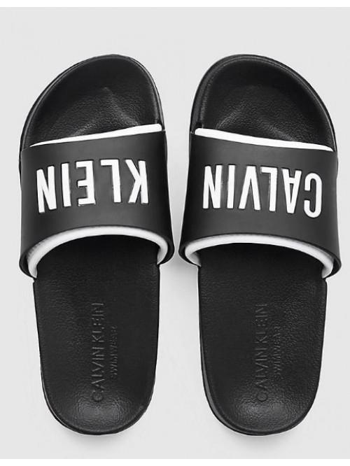 Dámske šľapky Calvin Klein Slide čierno-biele